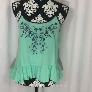 Teal and navy embroidered tank